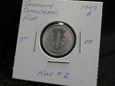 Germany  Democratic Rep. :  1949 A   5 Pfennig  Coin   (Ef.)  (#692)  Km # 2