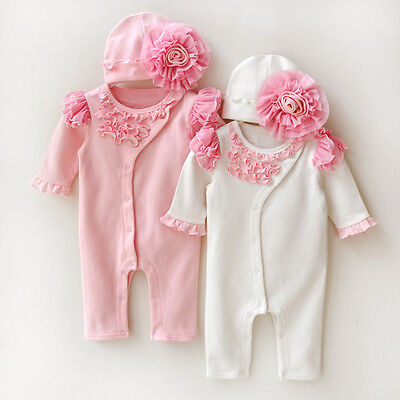 2pc baby newborn infant baby girls clothes 100% cotton party daily bodysuit+hat