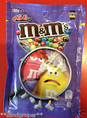 AUSTRALIAN MILK CHOCOLATE MINIS M&M's 1 x 160g PACKET M&Ms