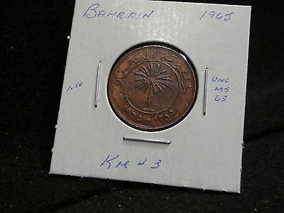 KINGDOM of BAHRAIN:   1965     10  FILS  COIN     ( UNC.)   (#741)   KM # 3