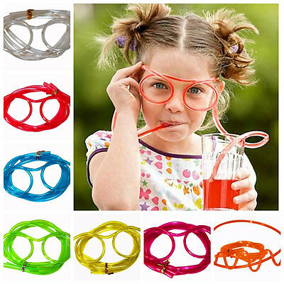 Novelty Flexible Soft Glasses Silly Drinking Straw Glasses For Kids Party Fun