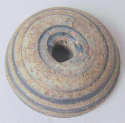 Rare Botton Bead Twisted Glass Roman Opaque Withe & Blue 23 Millimeter Diamet