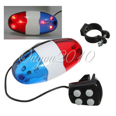 Bike Bicycle Cycling 4 Sound 6LED Police Car Siren Electric Horn Bell Warn Light