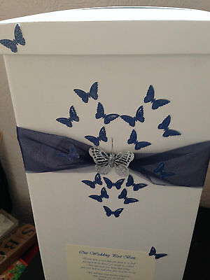 Personalised Wedding Card Post Box - Navy Blue Heart Butterflies