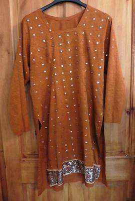 10 M  brown tan sequined pretty patterned Asian kameez ladies tunic top Indian