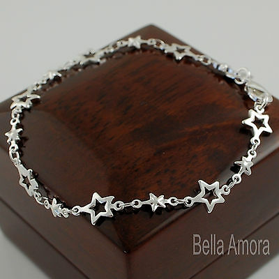 Stunning 925 Stamped Sterling Silver Plt Open Stars Chain Link Bracelet New 106