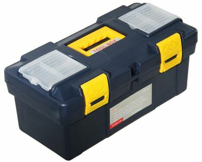 """New 18"""" Plastic Tool Box with Handle Tray & Compartment Storage"""