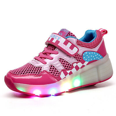 Unisex Kids Boy Girl LED Light Up Shoes Roller Skate Shoes Flashing Sneakers