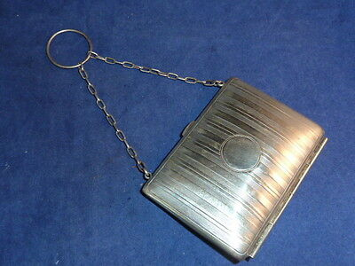 Elegant Antique Edwardian Silver Plated Dance Purse with Finger Ring