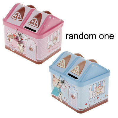 Cute Colourful House Style Iron Tin Piggy Bank Coin Money Saving Box for Kid