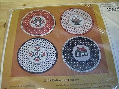 Creative Circle Calico Jar Toppers Stamped Cross Stitch Kit 4 Designs 6.5 Inches