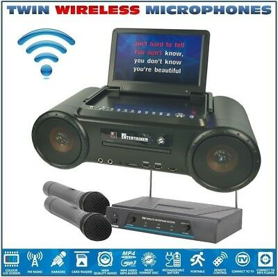 Mr Entertainer PartyBox Karaoke Machine & Portable DVD Player WITH WIRELESS MICS