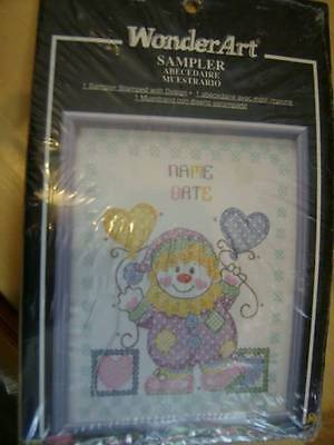 WonderArt Sweet Dreams Clown Stamped Cross Stitch Fabric 11x14 Inches
