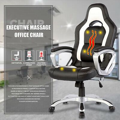 6 Point Racing Game Massage Chair Leather Ergonomic Computer Office Chair White