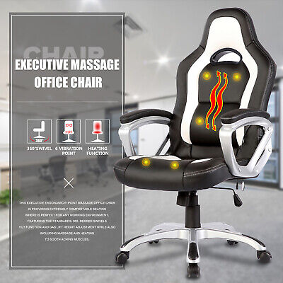 Race Car Computer Office Massage Chair Heated 6 Vibrating PU Leather Ergonomic