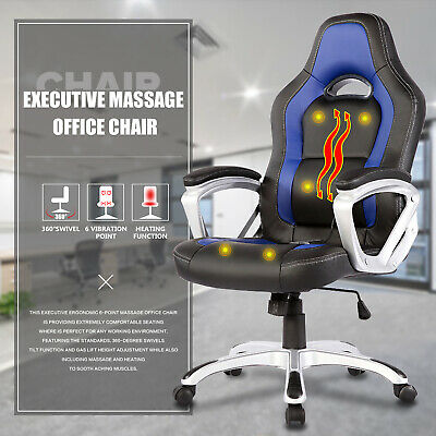 Race Car Office Chair Massage Chair Heated Vibrating Leather Ergonomic Computer