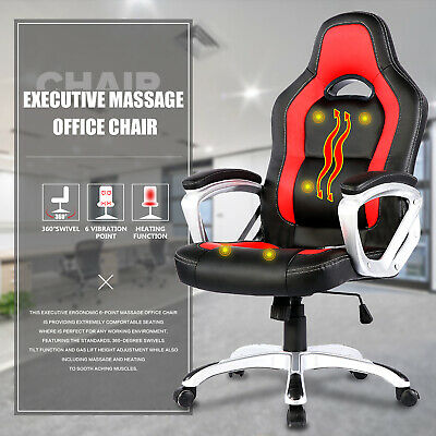 Heated Vibrating Leather Ergonomic Race Car Computer Office ChairMassage Chair