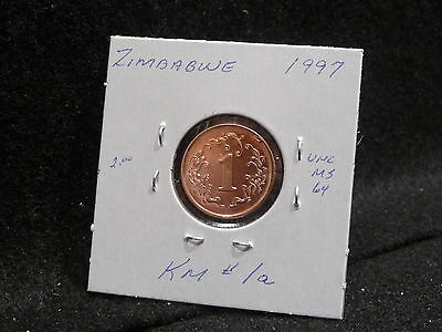 ZIMBABWE:   1997      1  CENT    COIN     (UNC.)    (#808)  KM # 1 a