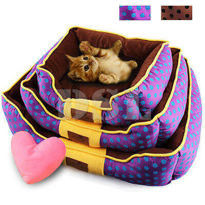 Luxury Soft Fabric Washable Dog Cat Pet Warm Basket Bed Fleece Lining + Pillow