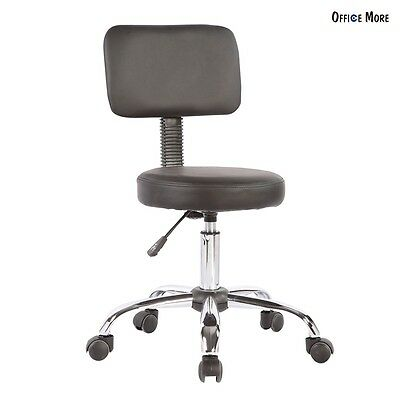Salon Dental Medical Doctor Stool Office Lab Chair w/Back Exam Tattoo Adjustable