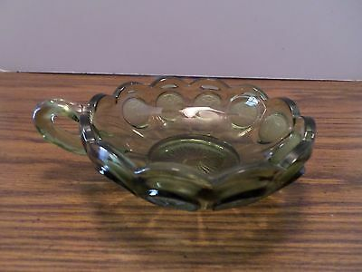 Vintage Fostoria Coin Glass Green Single Handle Nappy Bowl Candy Dish
