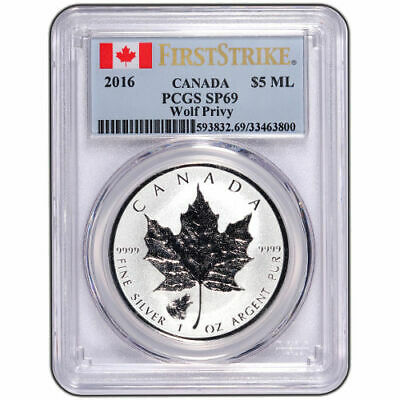 2016 Wolf Privy Canadian Silver Maple Leaf Reverse Proof Coin PCGS SP69 FS