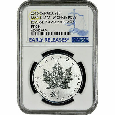 2016 Monkey Privy Canadian Silver Maple Leaf Reverse Proof Coin NGC PF69 ER