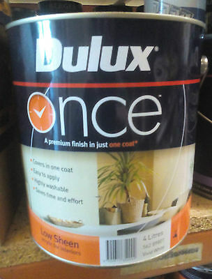 Dulux Once Washable Paint White Interior 4L Low Sheen Can Freight