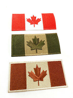 "Canadian Flag Patch 4""x2"" Adhesive/Sew-On Military OD Desert Red&White"