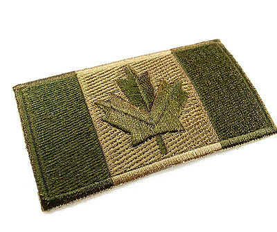 "Canadian Flag Patch 3""x1.5"" Adhesive/Sew-On Military Olive Drab Desert Red&White"