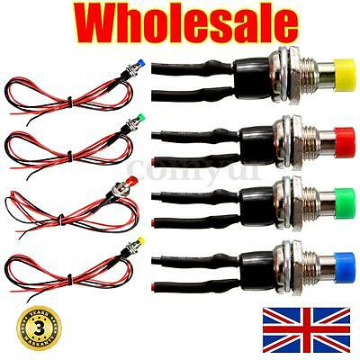12V ON/OFF Miniature SPST Momentary Push Button Switch Dash Horn Light cable Car