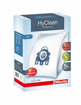 Miele GN HyClean 3D Efficiency 4 Genuine Vacuum Bags + 2 Filters C3 Powerline