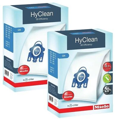 2 Boxes Genuine Miele GN HyClean 3D Efficiency Vacuum Bags +4 Filter, S8 S8000