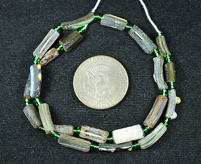 Ancient Roman Glass Beads 1 Medium Strand Aqua And Green 100 -200 Bc 208
