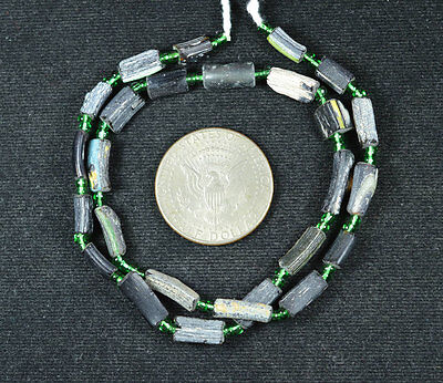 Ancient Roman Glass Beads 1 Medium Strand Aqua And Green 100 -200 Bc 210