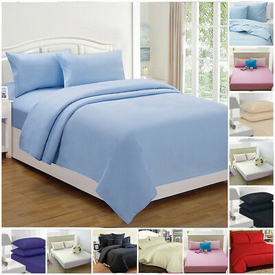 Percale Fitted Sheets Plain Dyed Luxury Combed Non Iron Single Double King