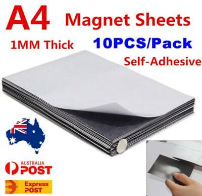 10PCS A4 Magnetic Magnet Sheets Self Adhesive 1MM Thickness Crafts Material AU