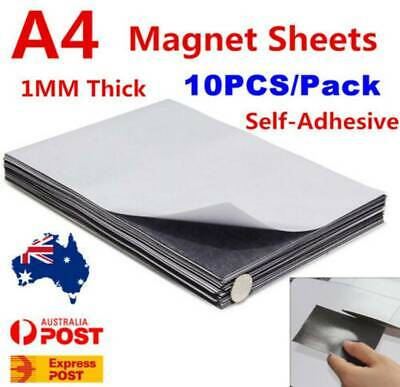 10X A4 Magnetic Magnet Sheets Adhesive Front 1mm Thickness School Office Use