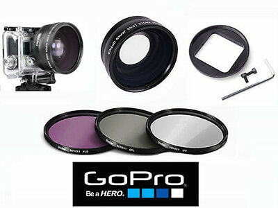 Hd Fisheye Lens With Macro + Hd Filter Kit For Gopro Hero4 Silver & Black