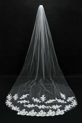 1T Cathedral Wedding Veil With Lace Edge (9 Ft Long) - White Or Ivory