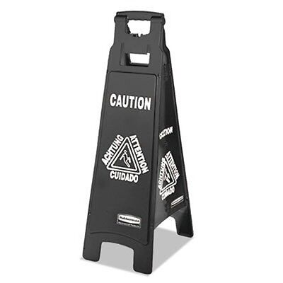 RCP1867509 - Rubbermaid Executive 4-sided Multi-lingual Caution Sign, Black/w...