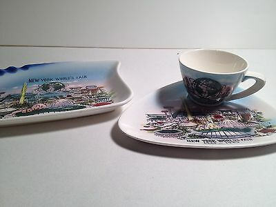 1964-1965 New York World's Fair Ashtray and Cup/Dish (Unisphere and Main Mall)