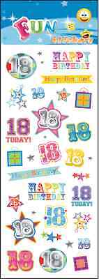 "Fantastic Fun Stickers "" 18Th Birthday"" For Cards & Craft"