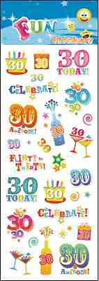 """Fantastic Fun Stickers """" 30Th Birthday"""" For Cards & Craft"""
