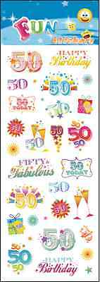 "Fantastic Fun Stickers "" 50Th Birthday"" For Cards & Craft"