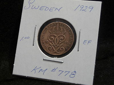 Sweden:   1929   Two  Ore   Coin       (Ef.)  (#197)   Km # 778