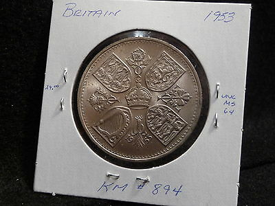 Uk (Great Britain):  1953  1 Crown  Coin   (Unc.)   (#850) Km # 894