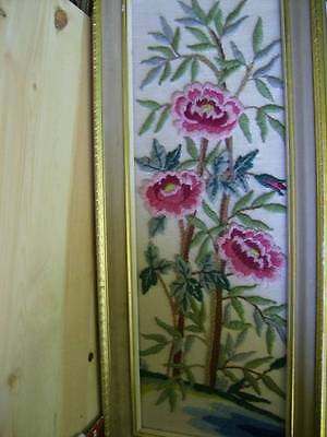 Gorgeous Pink Flowers Finished Crewel Embroidery Picture (Paragon) 7x19.5""