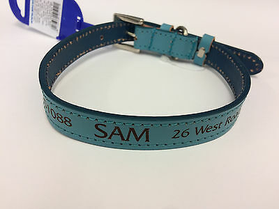 Personalised Leather Dog Collar 3 colours Laser Engraved FREE POSTAGE