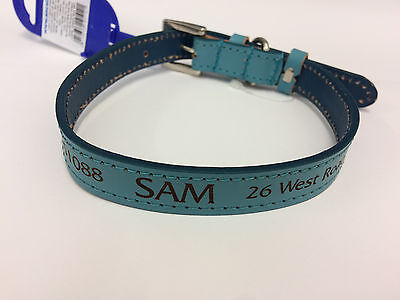 Personalised Leather Dog Collar 5 colours Laser Engraved